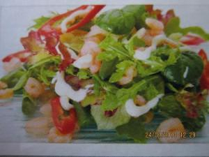 Тёплый салат с фасолью и креветками