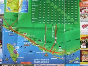 Юкатан, карта побережья