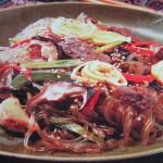 Лапша с мясом и грибами