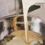 сырный крем смешать с мякотью